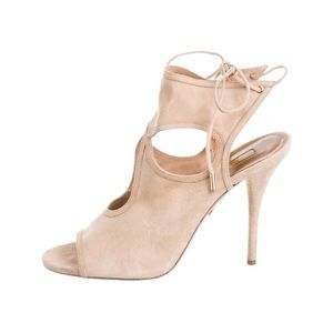 Aquazurra sexy thing 85mm suede nude sandals
